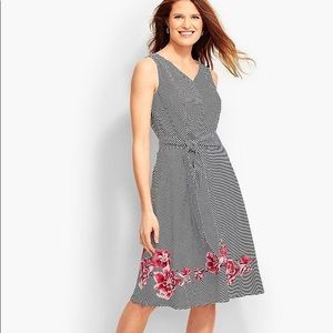 Talbots Embroidered Floral Dancing Stripe Dress 8P